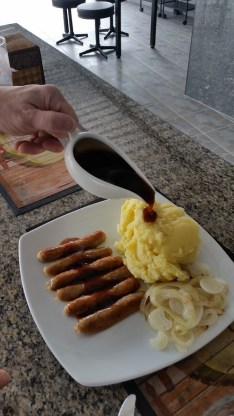 Bangers and mash at Smarties restaurant