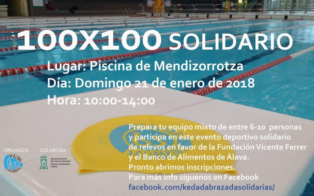 100 x 100 SWIM SOLIDARIO, organizado por Brazadas Solidarias y a favor de la Fundación Vicente Ferrer y el Banco de Alimentos