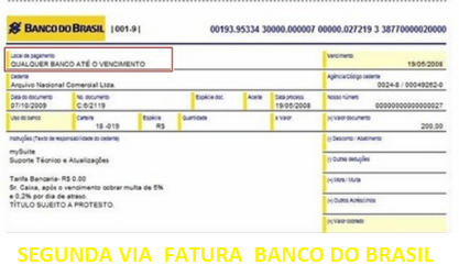 SEGUNDA - VIA -  FATURA -  BANCO - DO - BRASIL