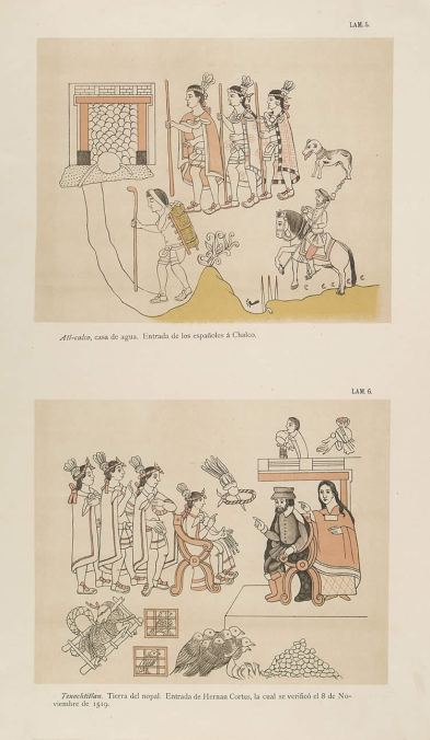 Cortés and La Malinche meet Moctezuma in Tenochtitlan, November 8, 1519, taken from the