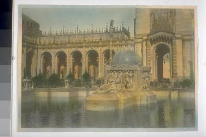 "Aitken, Robert. ""The Fountain of the Earth"". In Court of Abundance, or Court of the Ages (Louis Christian Mullgardt, architect). Hand-colored. 7139? Courtesy of The Bancroft Library, University of California, Berkeley Online"