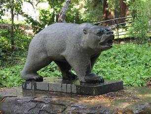 Puccinelli, Raymond. Grizzly Bear by Strawberry Creek, across from Cal Band headquarters. Installed 1955. Gift of O.J. Woodward II, Class of 1930. Photograph Erica Nordmeier.