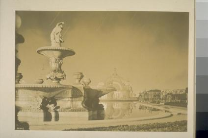 """The Mermaid"" fountain, 1915 (Arthur Putnam, sculptor), South Garden. Festival Hall (Robert Farquhar, architect) in distance. BANC PIC 1958.016 v.3:401 -- ALB. Courtesy of The Bancroft Library, University of California, Berkeley Online"