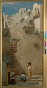 Williams, Virgil. Cityscape with Children. BANC PIC 19xx.500:028--FR. Courtesy of The Bancroft Library, University of California, Berkeley Online