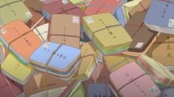 FIGURA 10. Em cima: Caixas de fan mail chegam à Mansão do Manga.