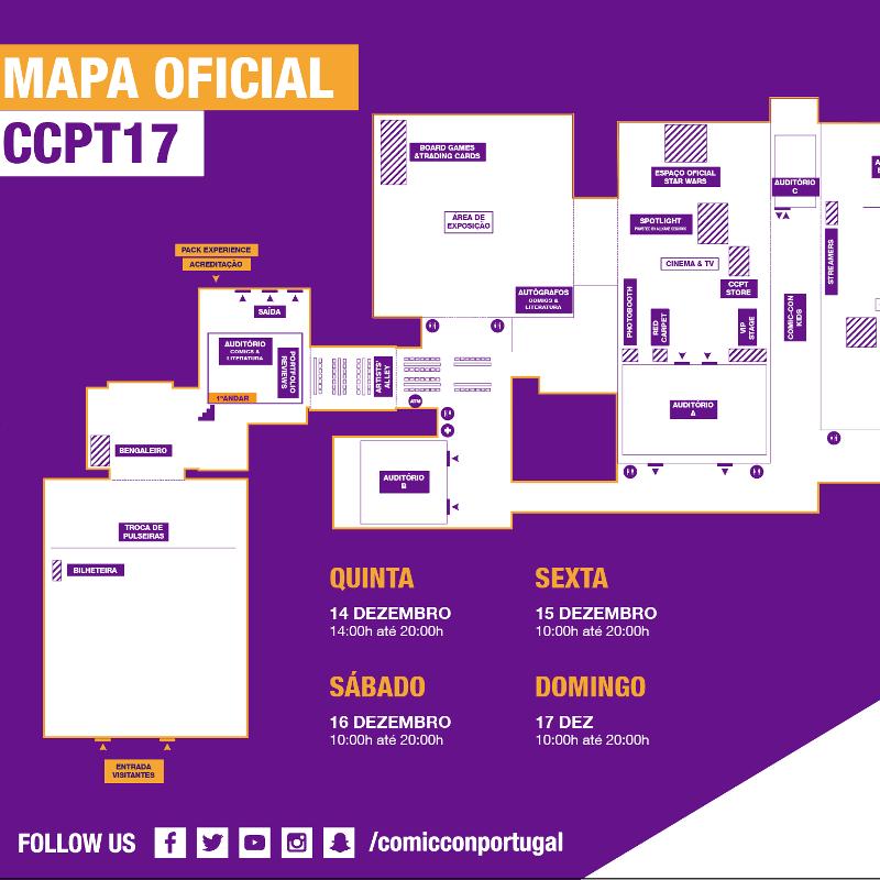 Mapa e horários da Comic Con