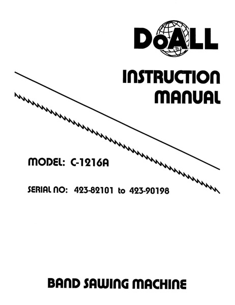Band Saw Manual DoAll C-1216A Serial 423