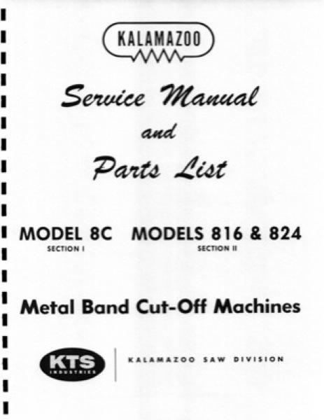 Band Saw Manual Kalamazoo 8C 816 824