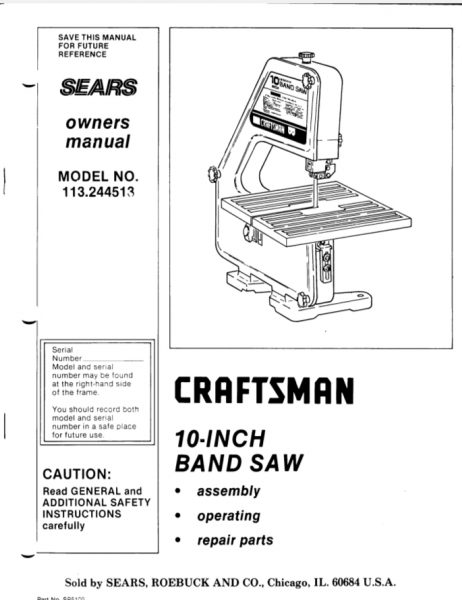 Sears Craftsman 10 Model 113.244513