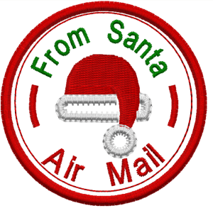 santa air mail embroidery