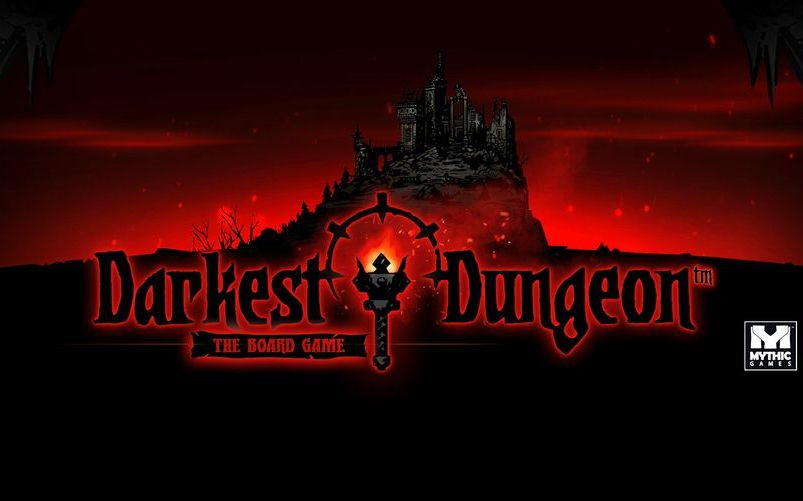 darkest dungeon the board game banner zamek i napis