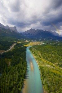 Bow River from the Air: Take your wedding guests on a Banff National Park helicopter tour!