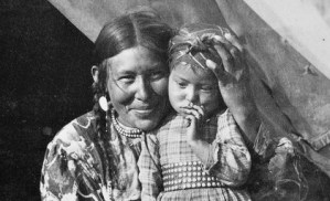 First Nations mother and daughter in Banff National Park, Canadian Rockies.