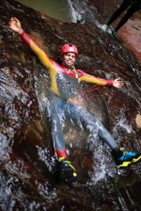 Subway Canyon - Gokul Lying in pool - Bangalore Adventure School