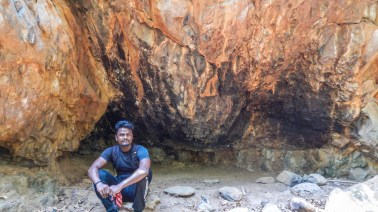 Pravin under the fire cave - Nagalapuram Canyon