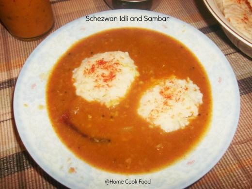 3. Schezwan Idli and Sambar