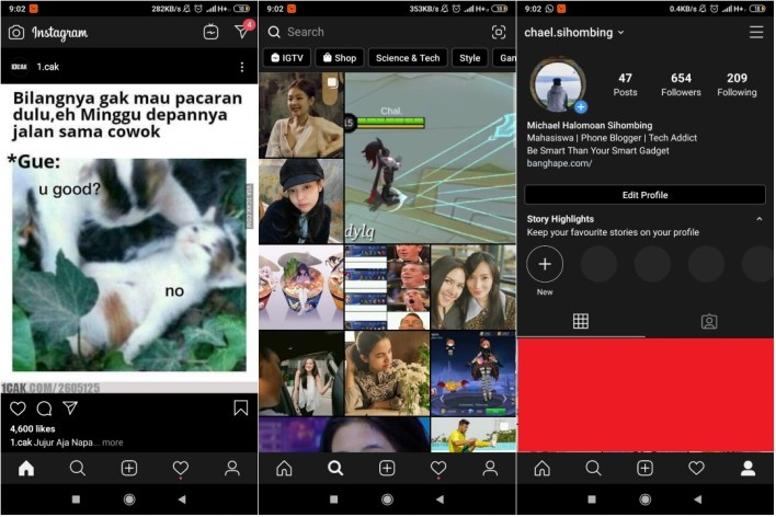 Aktifkan Dark Mode Instagram