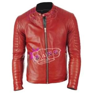 Get Mens Cafe Racer Lambskin Slim Fit Genuine Leather Biker Jacket Online