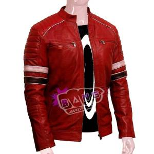 Mens Stylish Red Cafe Racer Lambskin Leather Jacket Online