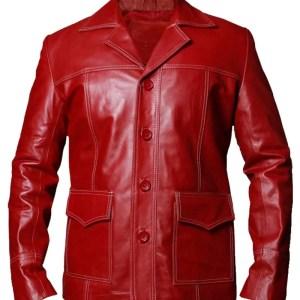 Tyler Durden Fight Club Red Genuine Leather Jacket
