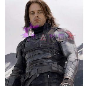 Get Bucky Barnes Winter Soldier Captain America Black Leather Strap Jacket