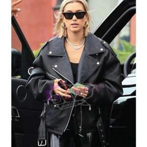 Get Hailey Baldwin Women 90 Style Black Leather Biker Baggy Jacket