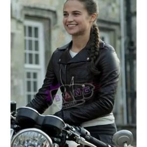 Buy Tomb Raider Alicia Vikander Black Leather Slim Fit Jacket