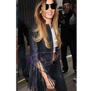 Get Cheryl Cole Crazy Stupid Love Womens Blue Leather Fringe Jacket