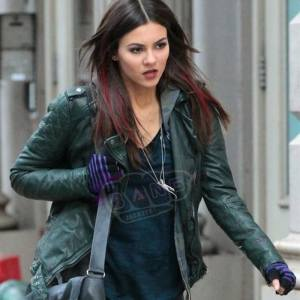 Buy Eye Candy Victoria Justice Genuine Green Leather Slim Fit Motorcycle Jacket