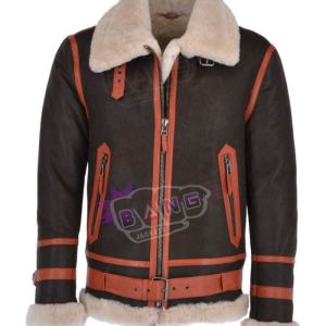 Get Men's Aviation Winter Shearling Stylish Leather Jacket