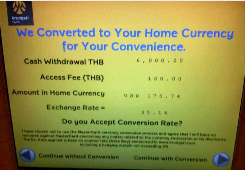 Using ATMs in Bangkok - Dynamic Currency Conversion