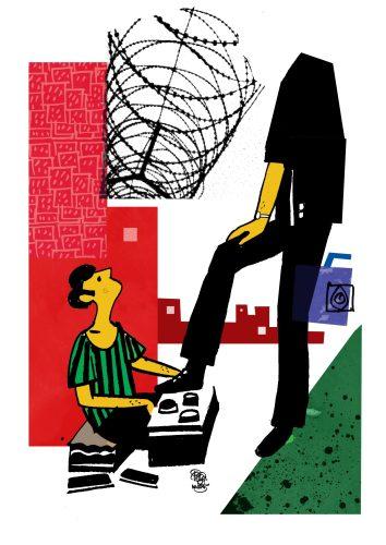 illustration of shoe polish সুকোমল সারাদিন ছোটগল্পের অলঙ্করণ