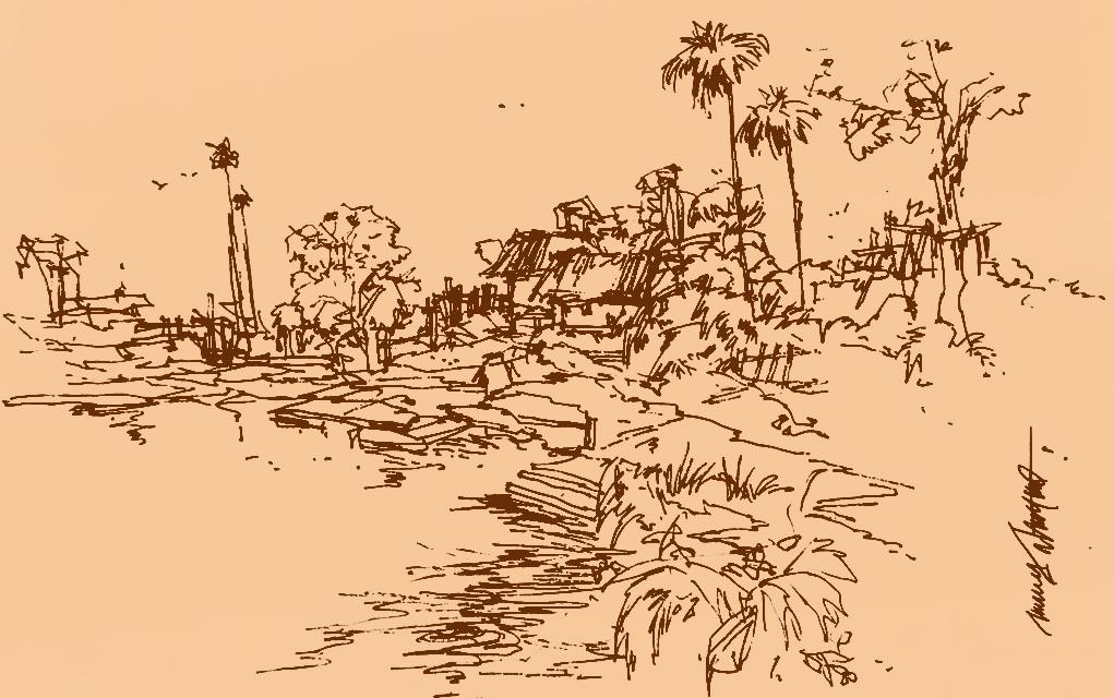 A hamlet in erstwhile East Bengal Illustration পূর্ববঙ্গের ছোট গ্রাম
