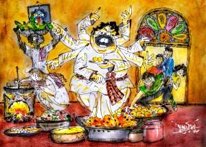 Illustration by Suvamoy Mitra for Editorial বিয়েবাড়ির ভোজ পংক্তিভোজ সম্পাদকীয়