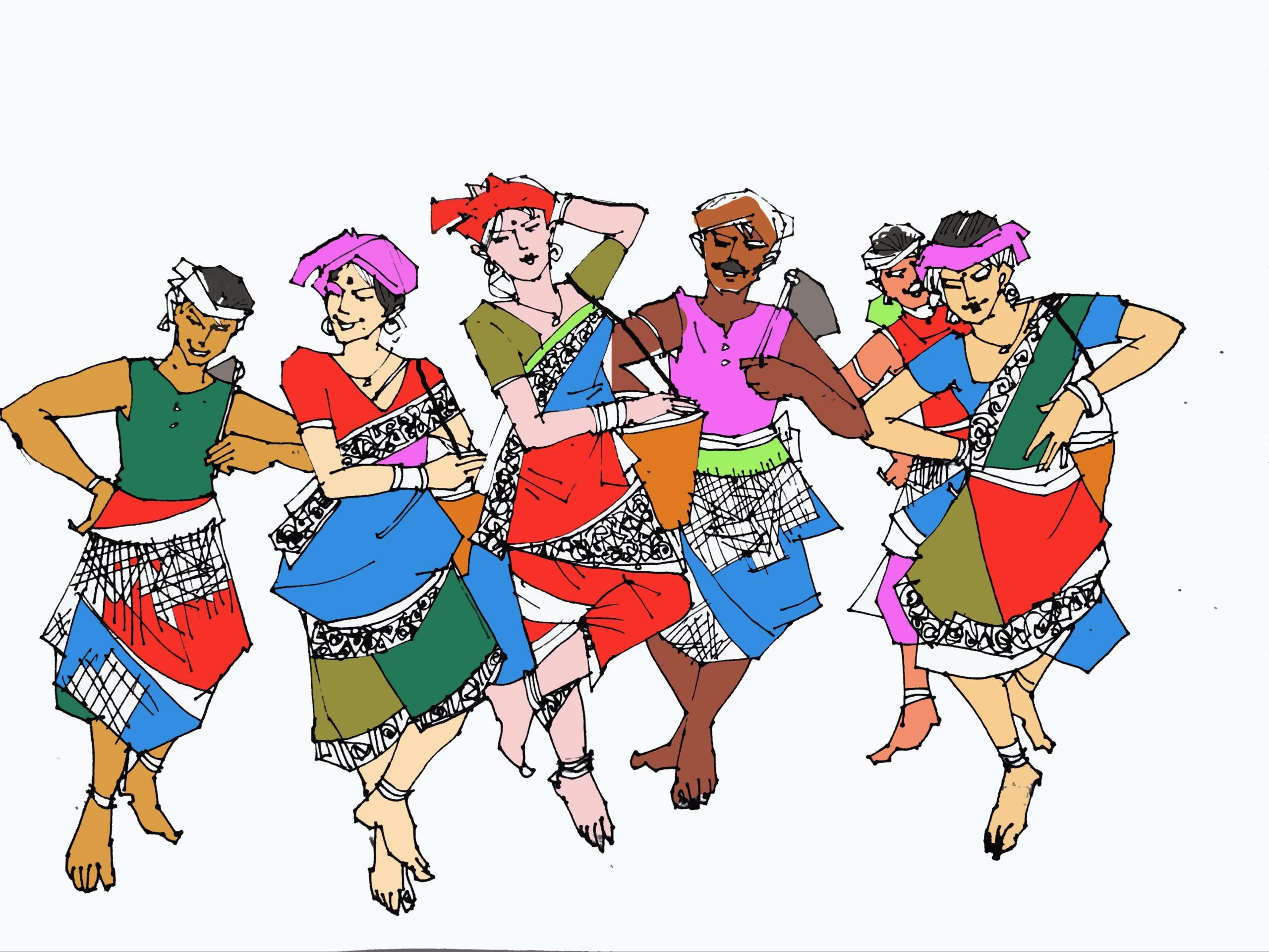 Illustration for Utture - Rabha tribal dance রাভা আদিবাসী নৃত্য