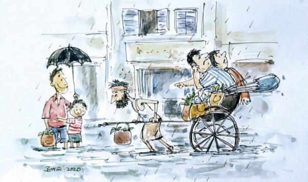Illustration by Upal Sengupta on Hand pulled Rickshaw