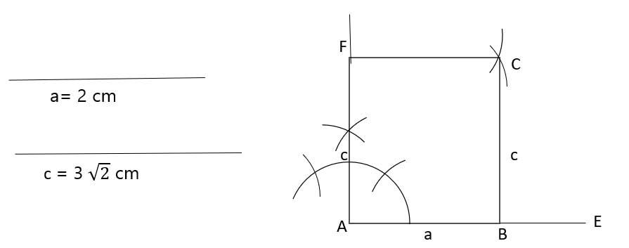 'খ' তে অঙ্কিত বর্গের কর্ণকে উদ্দীপকের আয়তের কর্ণ ধরে, আয়তটি আঁকা (অঙ্কনের বিবরণসহ)