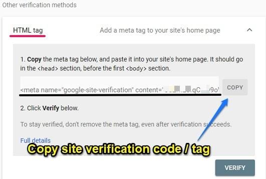 Copy google site verification code