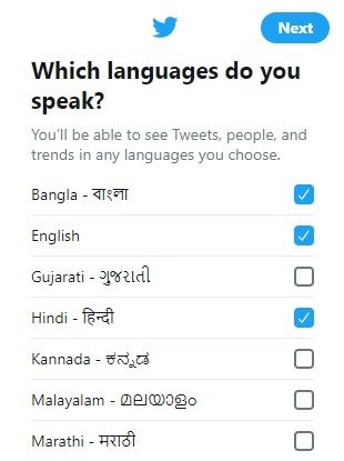 Select preferred languages for twitter