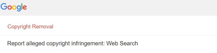 Report copyright to google