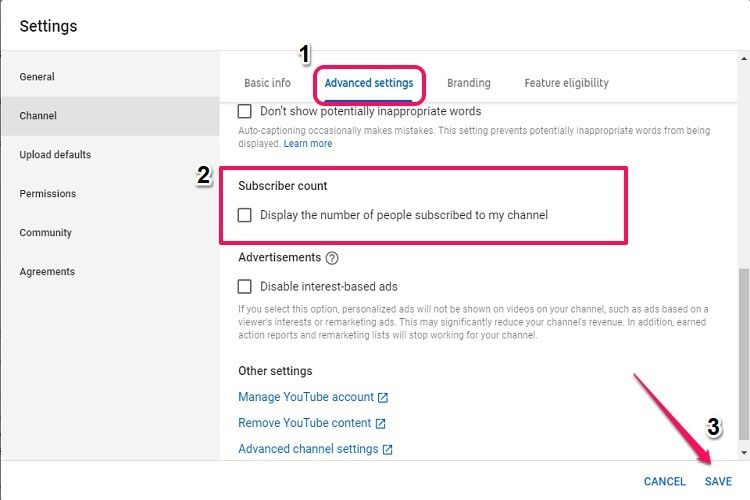 Uncheck subscriber count option