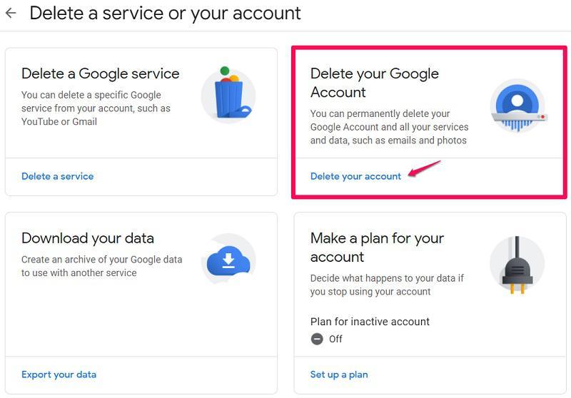 Delete google service or entire account