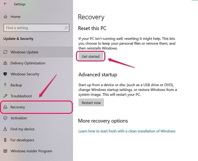 Go to recovery settings