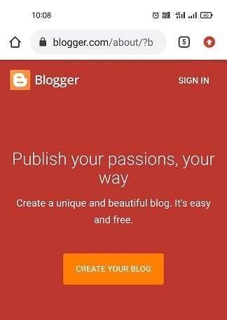 go to blogger website