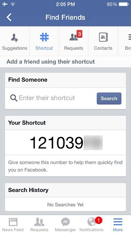 facebook shortcut..