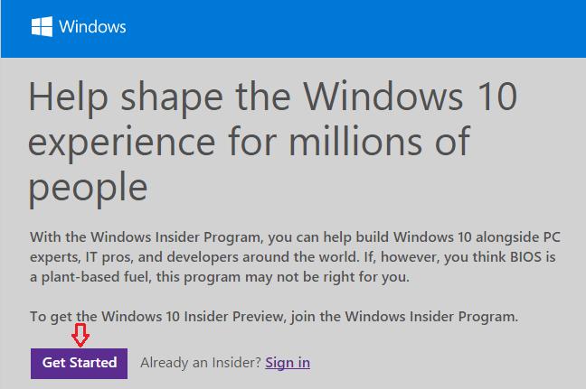 sign up windows insider