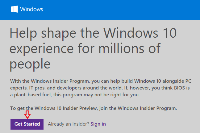 sign up windows insider