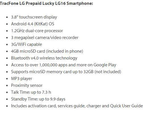 specification lg lucky