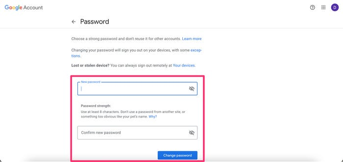 gmail password change in computer step 2