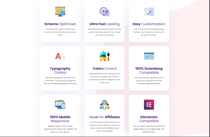 Affiliate Booster Theme Feature list